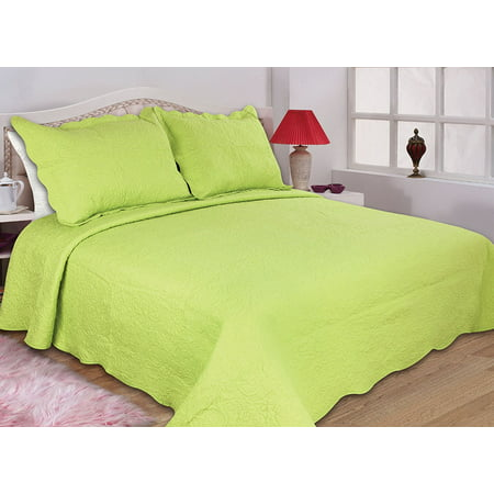 All for You 2pc Reversible Quilt Set, Bedspread, and Coverlet-3 different sizes-Lime Green color (twin 68