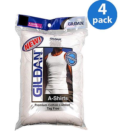 Gildan Big Men's Cotton Ribbed White A-Shirt, 4-Pack Size 2XL
