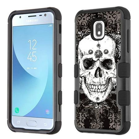 3-Layer Case for Samsung Galaxy J3 Orbit, OneToughShield ® ShockProof Protective Phone Case (Black) - Grunge Skull
