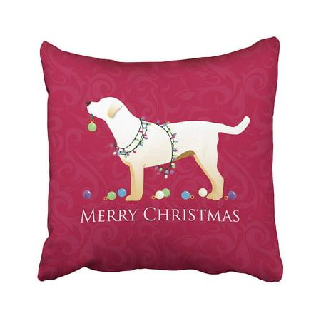 Labrador Retriever Accessories (BPBOP Xmas Yellow Labrador Retriever Merry Christmas Design Pillowcase Pillow Cushion Cover 18x18 inches)