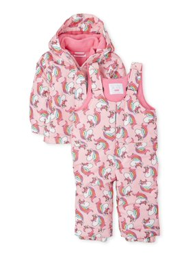 The Children's Place Baby Toddler Girl 3-in-1 Winter Jacket Coat & Snow Pants Bib, 2pc Set