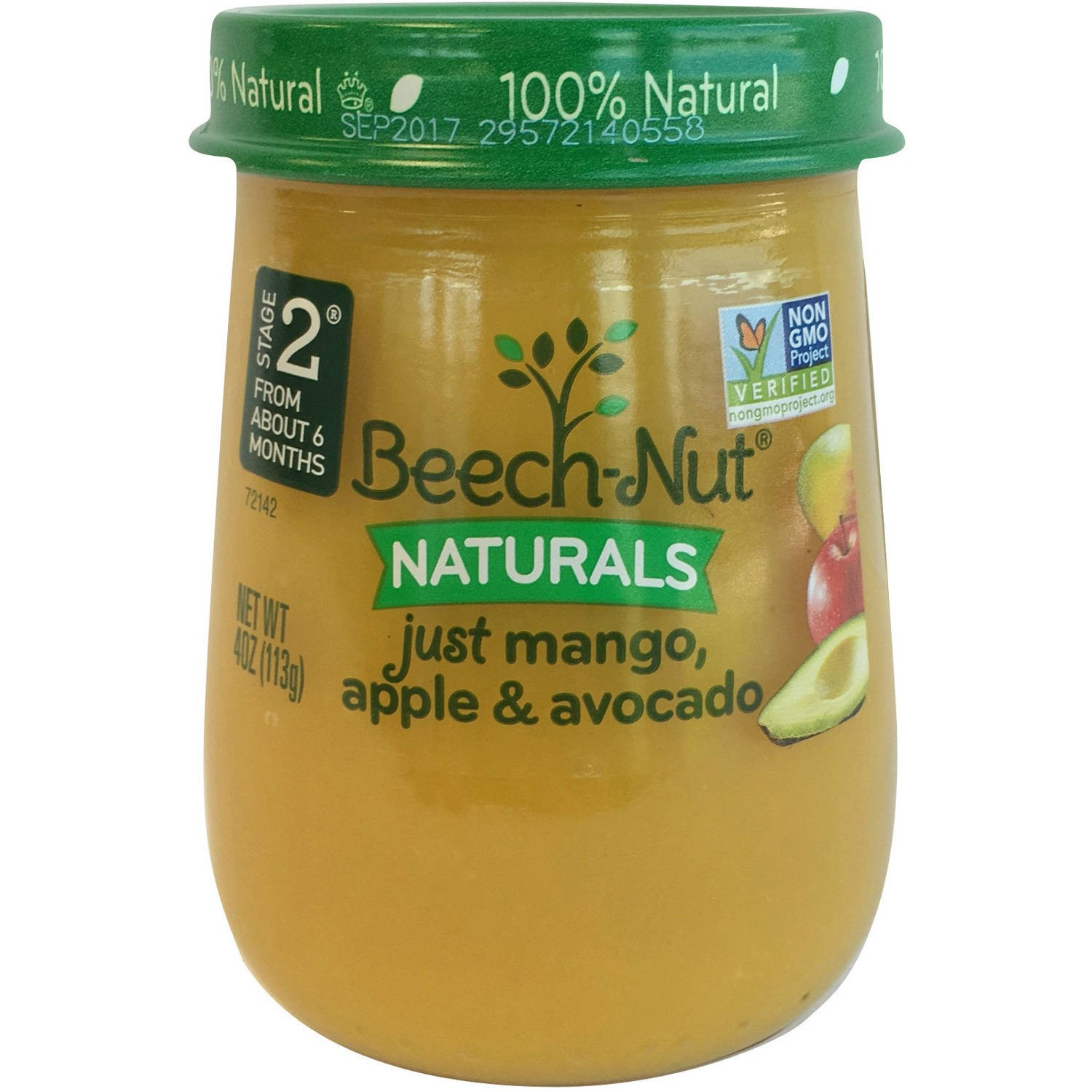 (10 Pack) Beech-Nut Naturals Just Mango, Apple & Avocado Stage 2 Baby Food, 4.0 oz