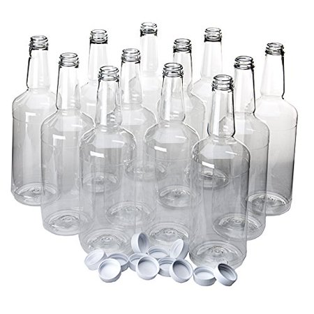 Dozen Long Neck Quart Plastic Bottles with Screw on - Clear Plastic Bottle