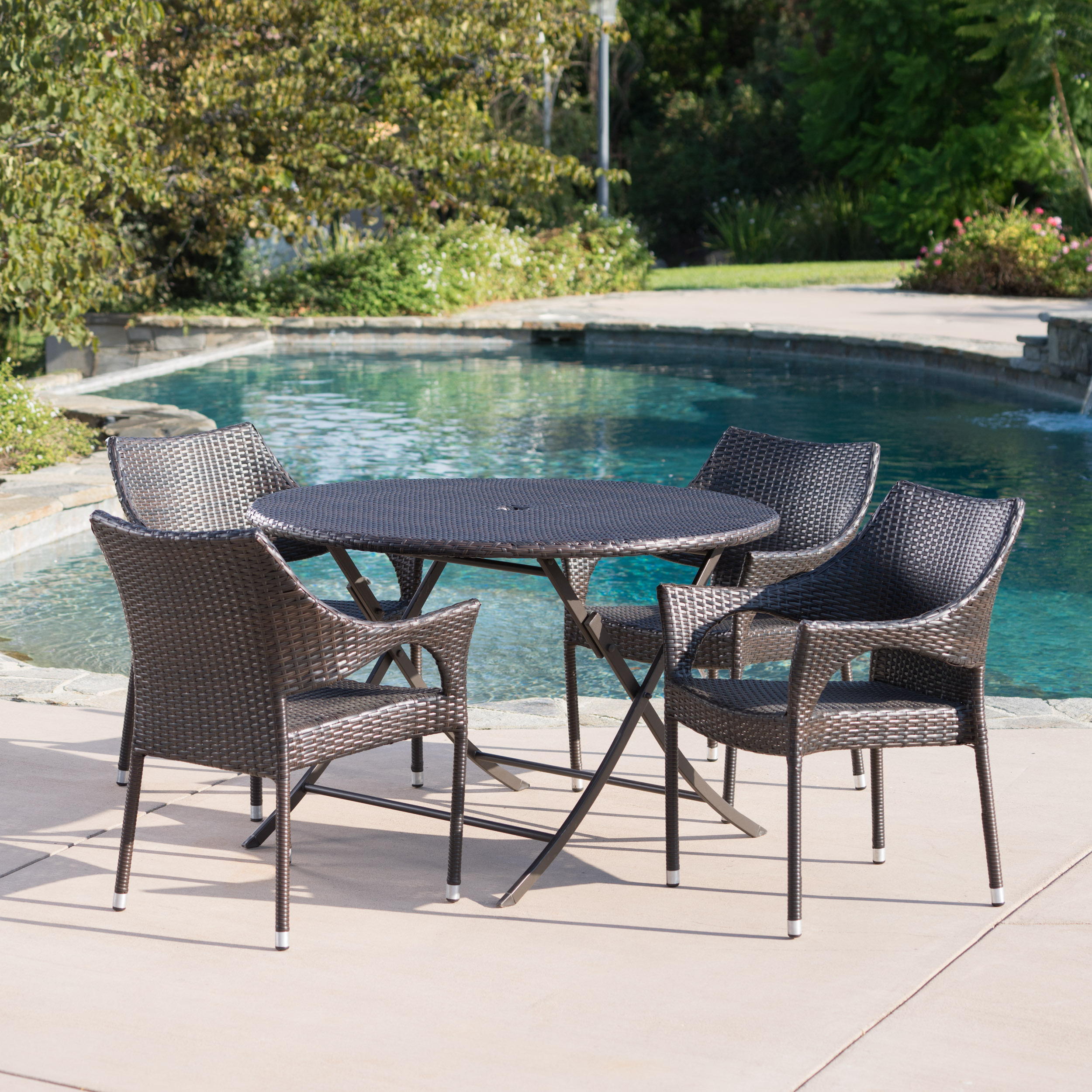 Outdoor 5 Piece Wicker Dining Set with Foldable Table and Stacking Chairs,Multibrown