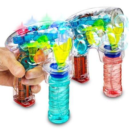 Bubble Gun Blower Machine - Pack Of 2 Light Up LED Transparent Blaster - For Kids, Playing, Outdoors, Indoors, Gifts, And Party Favors - 1 Bubble Solution And Batteries Included - Bubble Gun Online