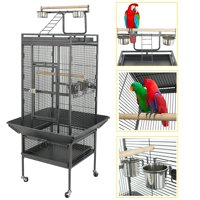ZENSTYLE 61'' Large Bird Cage with Rolling Stand Parrot Chinchilla Finch Cage Macaw Conure Cockatiel Cockatoo Pet House Wrought Iron Birdcage, Black