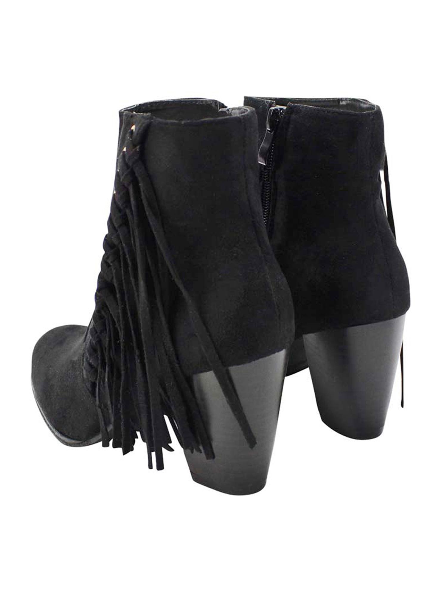 Boho Fringe Womens Stacked Heel Booties