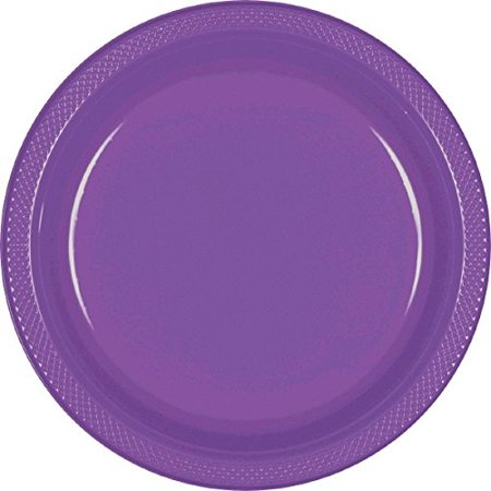 Party Ready Reusable Round Dinner Plates Tableware, Purple, Plastic , 10