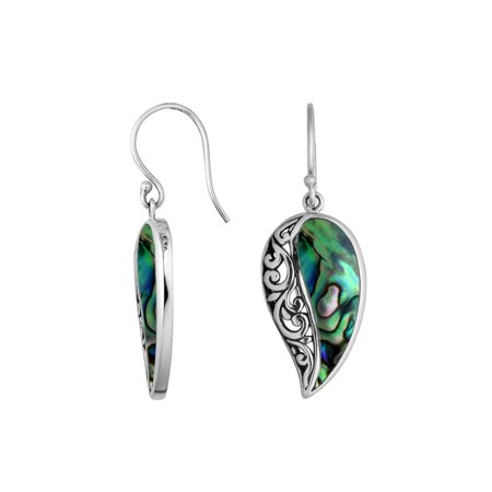 AE-6200-AB Sterling Silver Leaf Shape Earring With Abalone (Ear Shape)