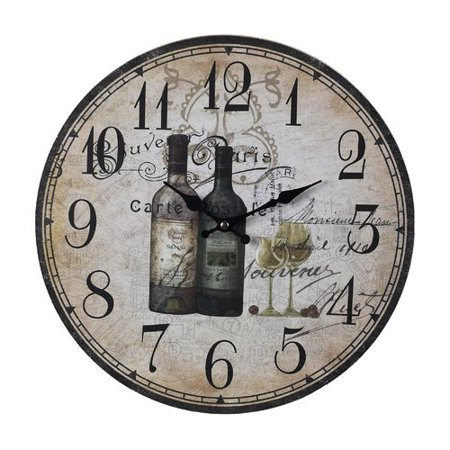Fleur De Lis Living 13 Round Wood French Wine Bottles Wall Clock