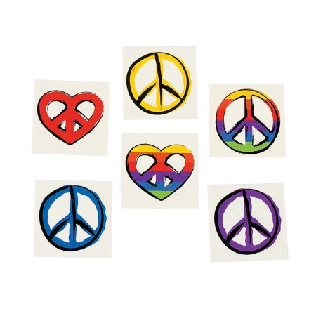 Fun Express - Peace Sign Tattoos - Apparel Accessories - Temporary Tattoos - Regular Tattoos - 72 Pieces](Peace Sign Tattoos)