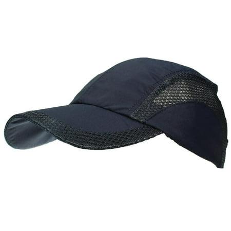 Tropic Hats Adult Lightweight Nylon & Mesh Strapback Ballcap W/Pre-Curved Bill - Navy Adult 3 Pocket Nylon Mesh