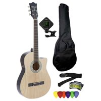 Fever 3/4 Size Acoustic Cutaway Guitar Package Natural with Gig Bag, Guitar Tuner, Picks and Strap, FV-030C-NT-PACK