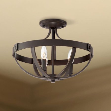 Franklin Iron Works Farmhouse Ceiling Light Semi Flush Mount Fixture Bronze 15