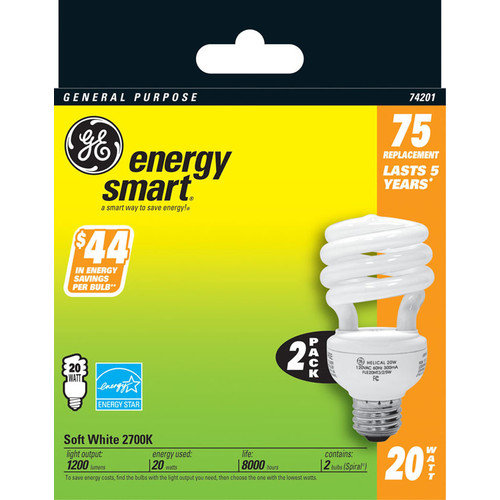 GE  Lighting 74201 20 Watt Soft White neral Purpose Spiral Light Bulb 2-count