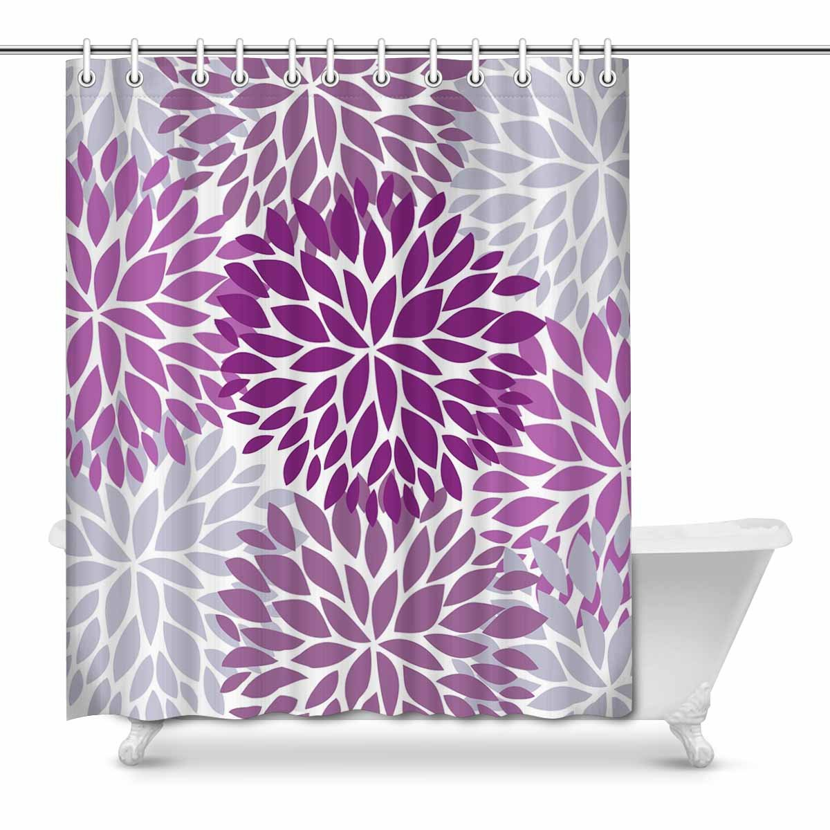mkhert dahlia pinnata flower purple and gray waterproof shower curtain decor floral fabric. Black Bedroom Furniture Sets. Home Design Ideas