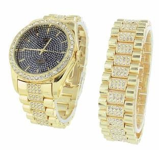 Mens Iced Out Watch Free Matching Bracelet Gift Set Lab Diamond Techno Pave S