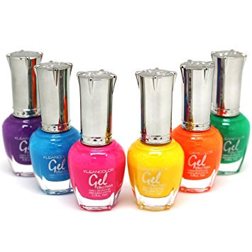 - KLEANCOLOR Gel Effect Nail Polish Lacquer Full Size 6 pc 'NEON' Collection Set