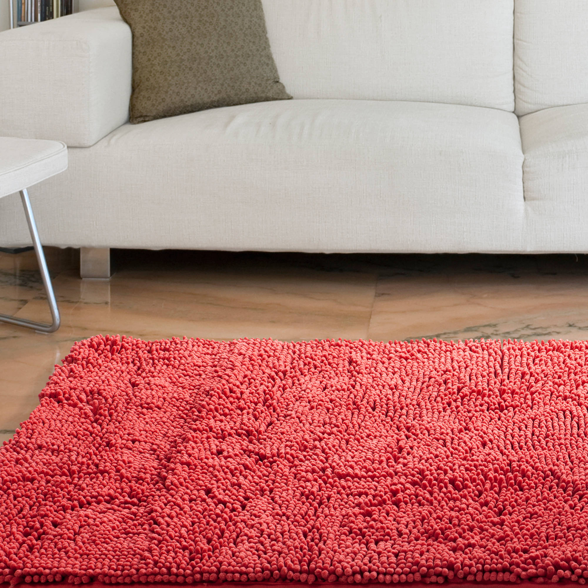 "Somerset Home High Pile Shag Rug Carpet, Coral, 21"" x 36"""