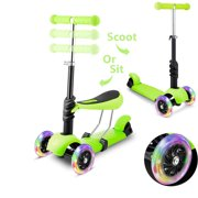 Kids 3 LED Wheels Mini Kick Scooter Children Walkers 3-in-1 Toddler Scooters with Adjustable Handle T-Bar & Seat DIRESOP