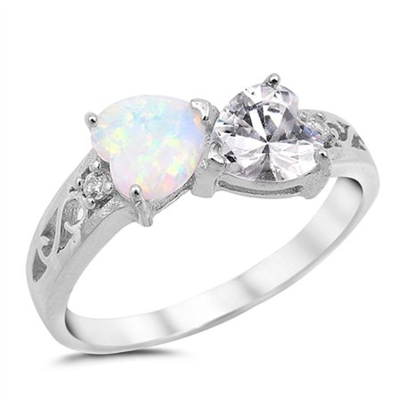 CHOOSE YOUR COLOR Heart Clear CZ White Simulated Opal Promise Ring .925 Sterling Silver (Pearl Tourmaline Ring)