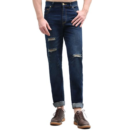 Unique Bargains Men's Straight Leg Destroyed Ripped Holes Zip Fly Distressed Denim -