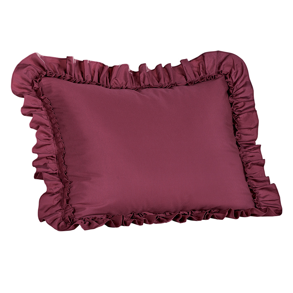 Elegant Ruffled Pillow Shams - Versatile & Classic Decor for Bedroom, Sham, Burgundy