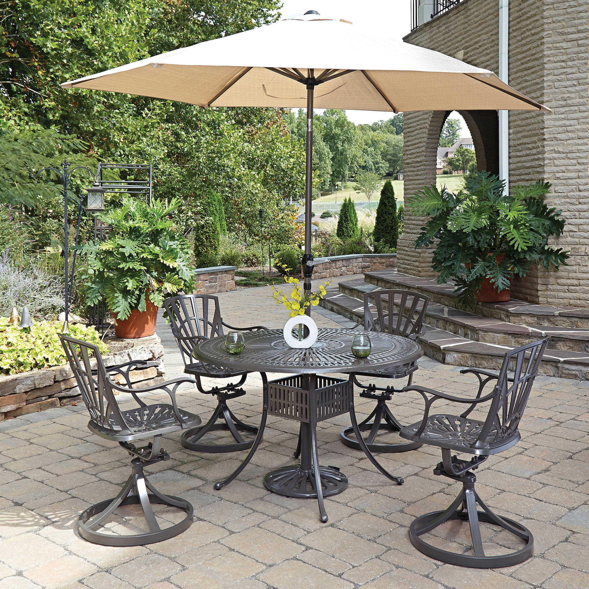 pc outdoor dining set largo pc outdoor aluminum dining set with ...