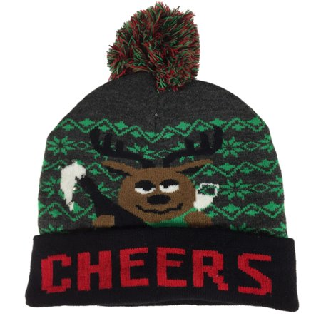 Light Up Hat (Mens Light Up Cheers Reindeer Christmas Holiday Stocking Cap Alcohol Beanie)