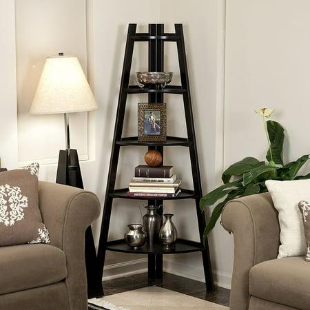 Zimtown Corner Shelf 5 Tier Stand Storage Display Book Rack Organizer ()