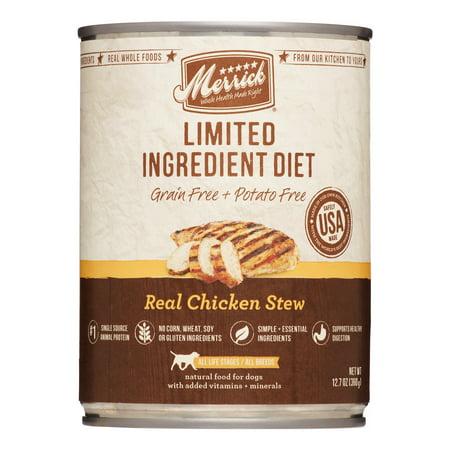 Merrick Limited Ingredient Diet Grain-Free Real Chicken Stew Wet Dog Food, 12.7 oz, Case of 12
