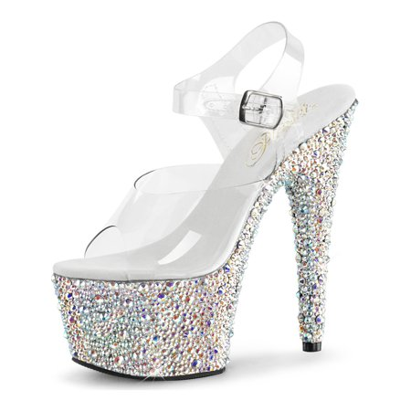 1281d47ce49d SummitFashions - Womens Platform Shoes Sparkly Rhinestone Clear Ankle Strap  Sandals 7 Inch Heels - Walmart.com