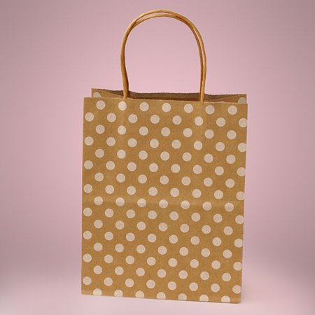 Small Gift Bags (KraftyKlassics 12 pack Kraft Brown White Polka Dot Twisted Handle Gift Favor Bags Small)