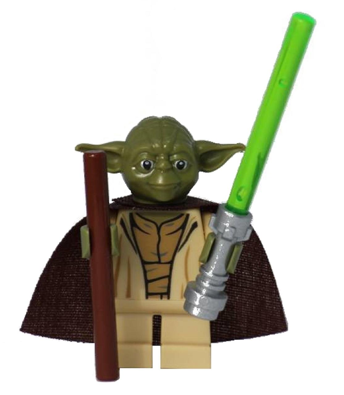 lego star wars yoda minifig with stick and custom cape