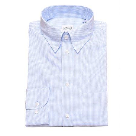 - Armani Collezioni Men's Cotton Dress Shirt Checkered Light Blue