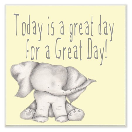 Day Elephant (The Stupell Home Decor Collection Today is a Great Day Elephant Wall Plaque Art )