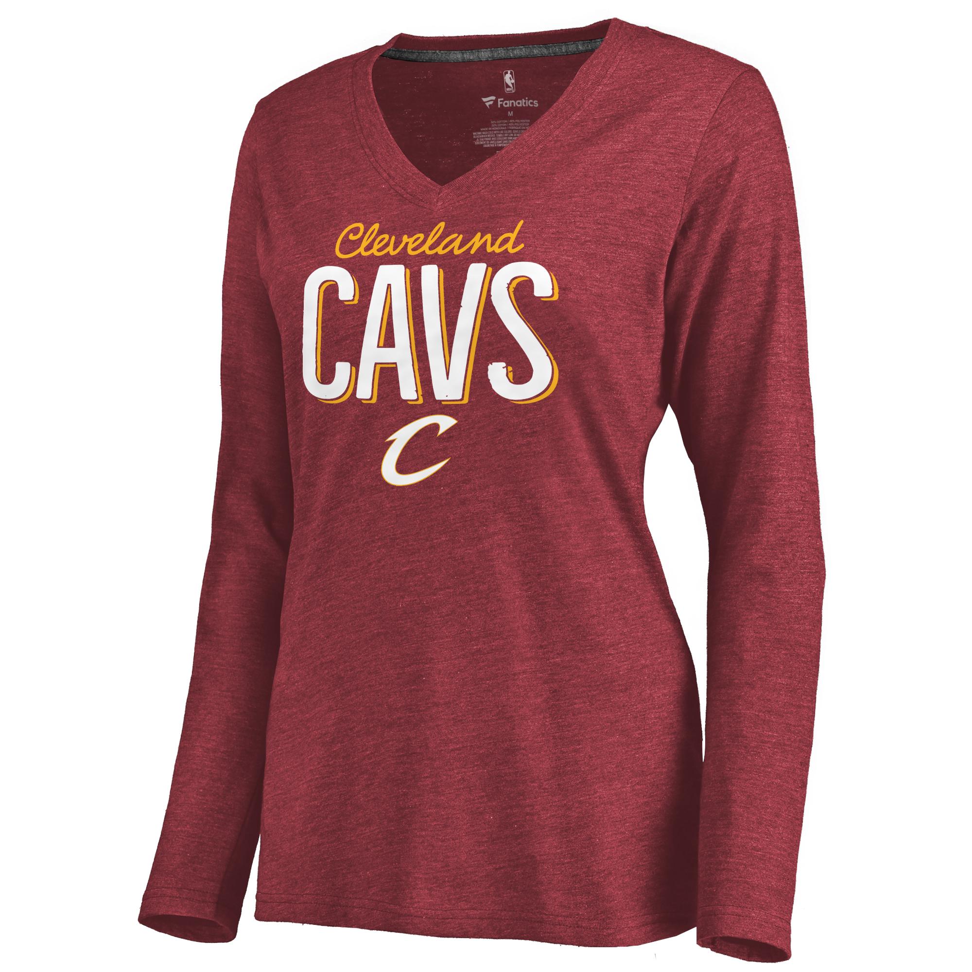 Cleveland Cavaliers Women's Nostalgia Long Sleeve Tri-Blend V-Neck T-Shirt - Garnet