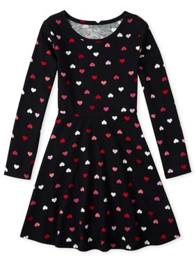 The Children's Place Girls 4-16 Valentine's Day Hearts Long Sleeve Skater Dress