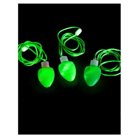 Green Flashing Light-up Blinking Christmas Bulb Pendant LED Costume Necklace](Light Bulb Costumes)