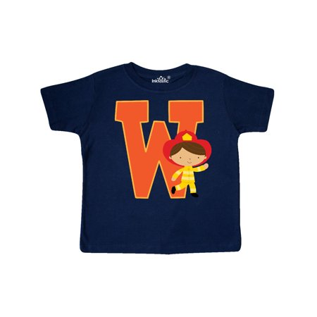 Firefighter Letter W Monogram Fireman Toddler T-Shirt](Monogram Kids Clothing)