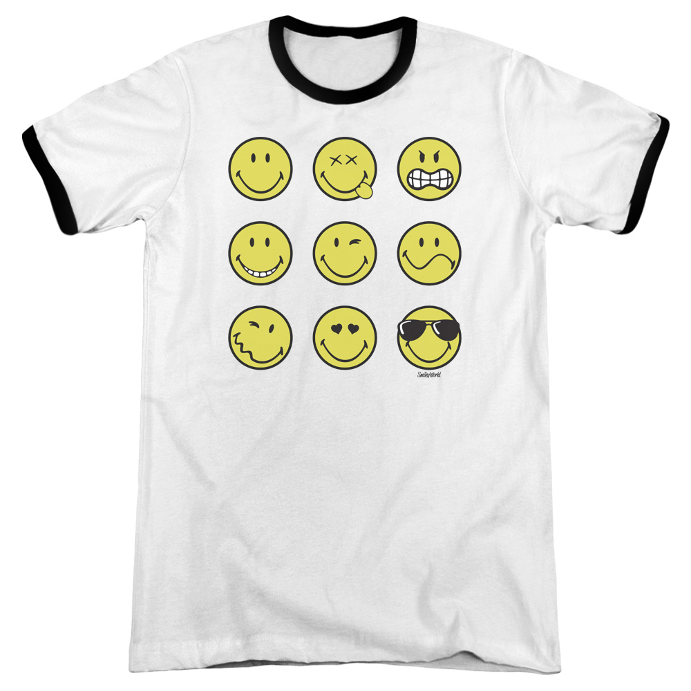 Smiley World Nine Faces Mens Adult Heather Ringer Shirt