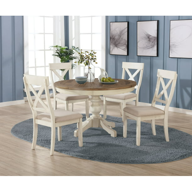 Roundhill Furniture Prato 5 Piece Round, Round Dining Table Set For 5 Chairs