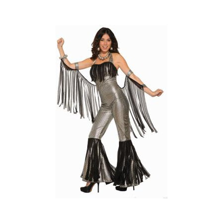 Womens Disco Queen Silver Jumpsuit Halloween Costume (Cat Jumpsuit Costume)