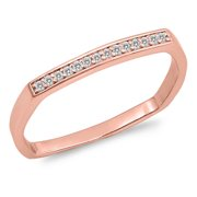CHOOSE YOUR COLOR Rose Gold-Tone White CZ Stackable Ring New .925 Sterling Silver Band