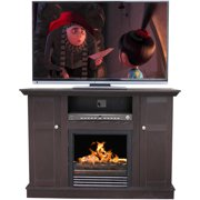 "Décor Flame Kingsley 42"" Media Fireplace, for TVs up to 50"", Black"