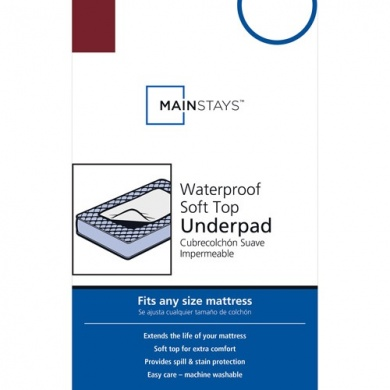 Mainstays Universal Waterproof Soft Top Underpad, 2 Count