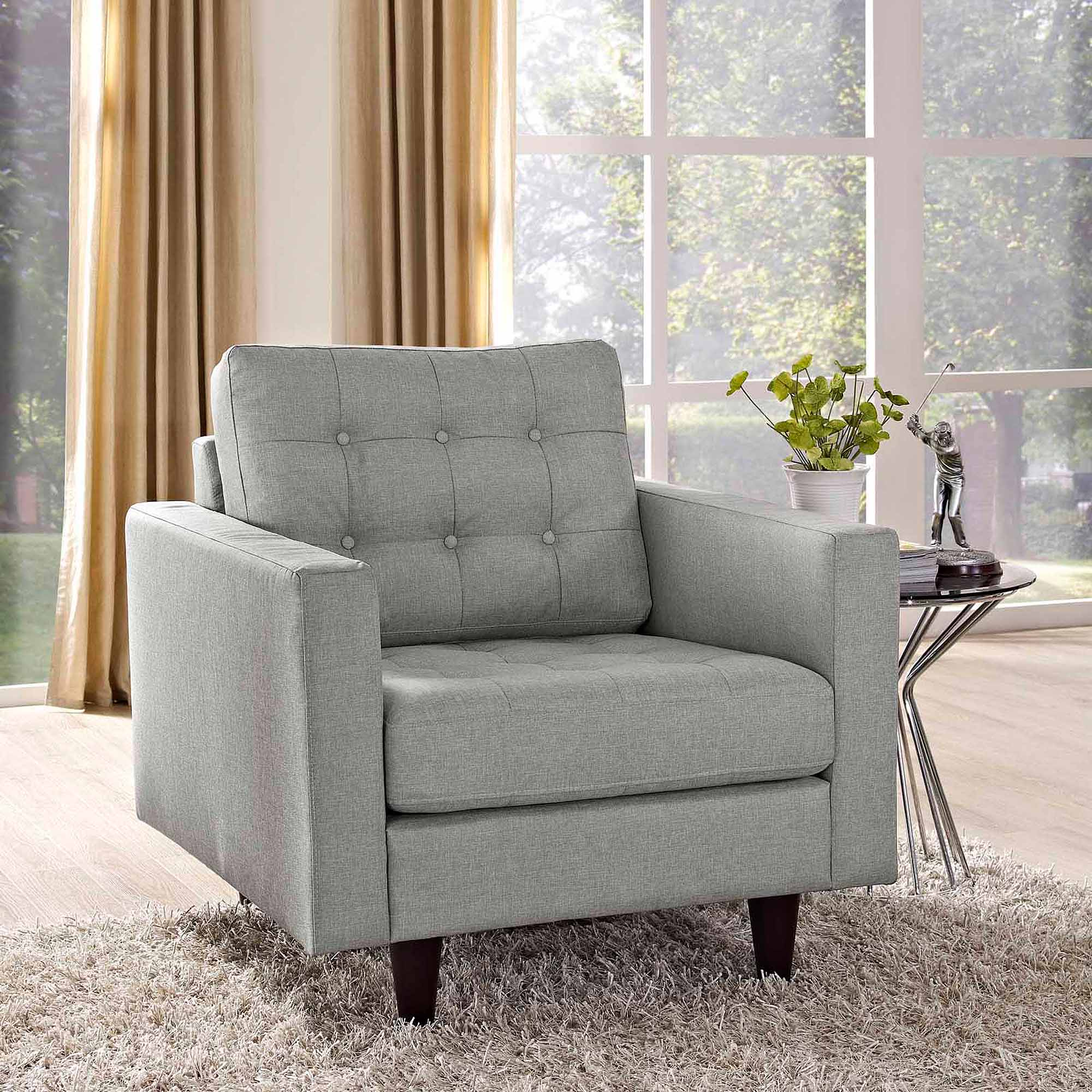Modway Empress Upholstered Tufted Armchair, Multiple Colors   Walmart.com
