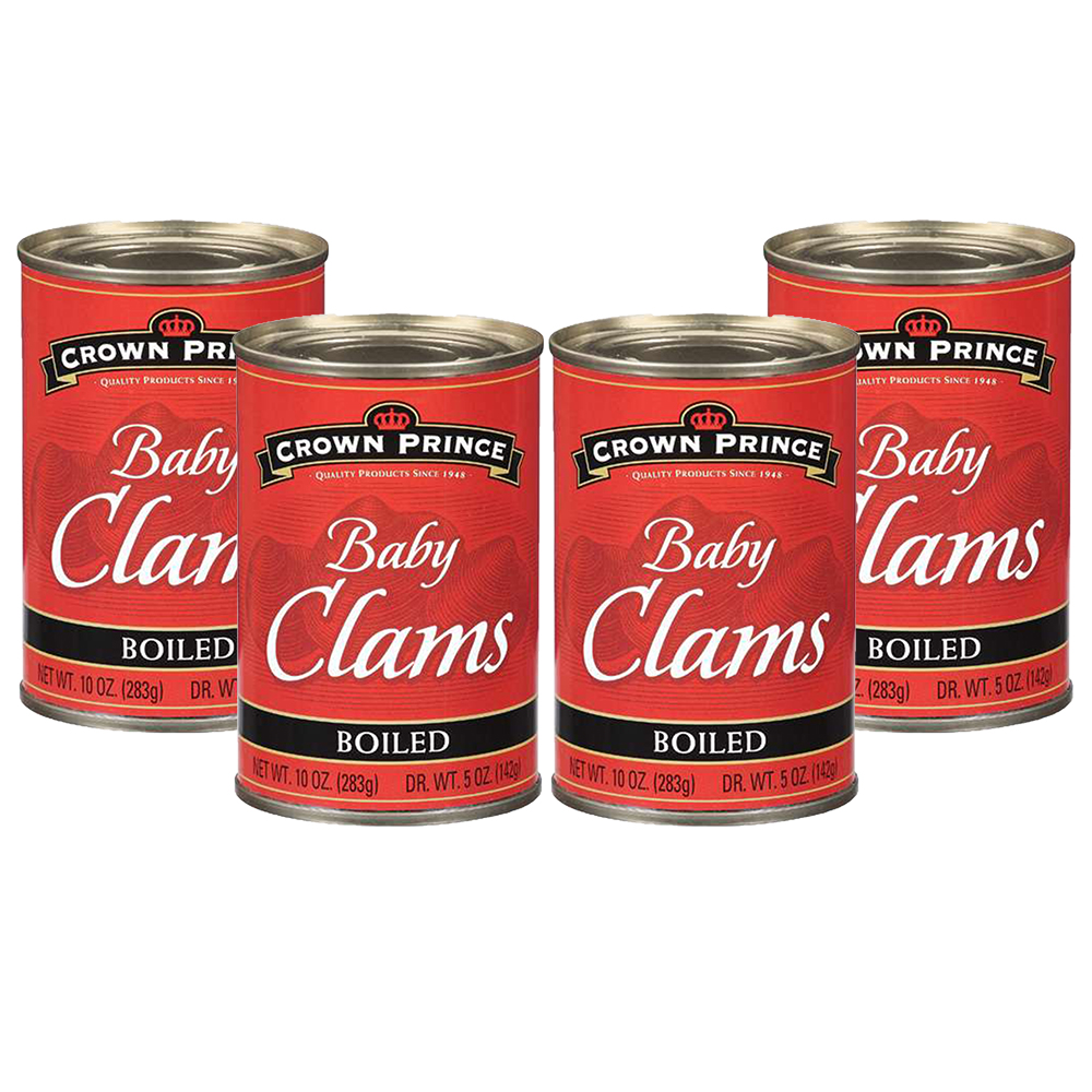 Crown Prince Boiled Baby Clams, 10 oz Can (4 Packs)