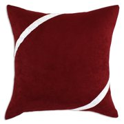 Brite Ideas Living Passion Suede Cinnabar with White Ribbon Throw Pillow