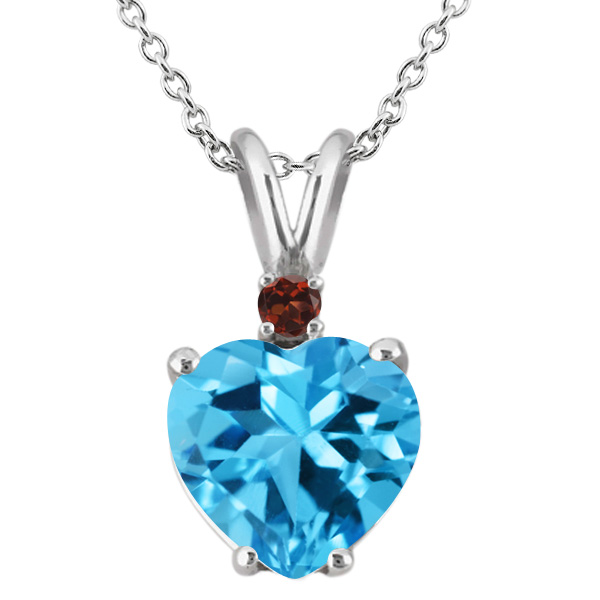 14K White Gold Heart Pendant set with 2.29 Ct Swiss Blue Topaz and Red Garnet by